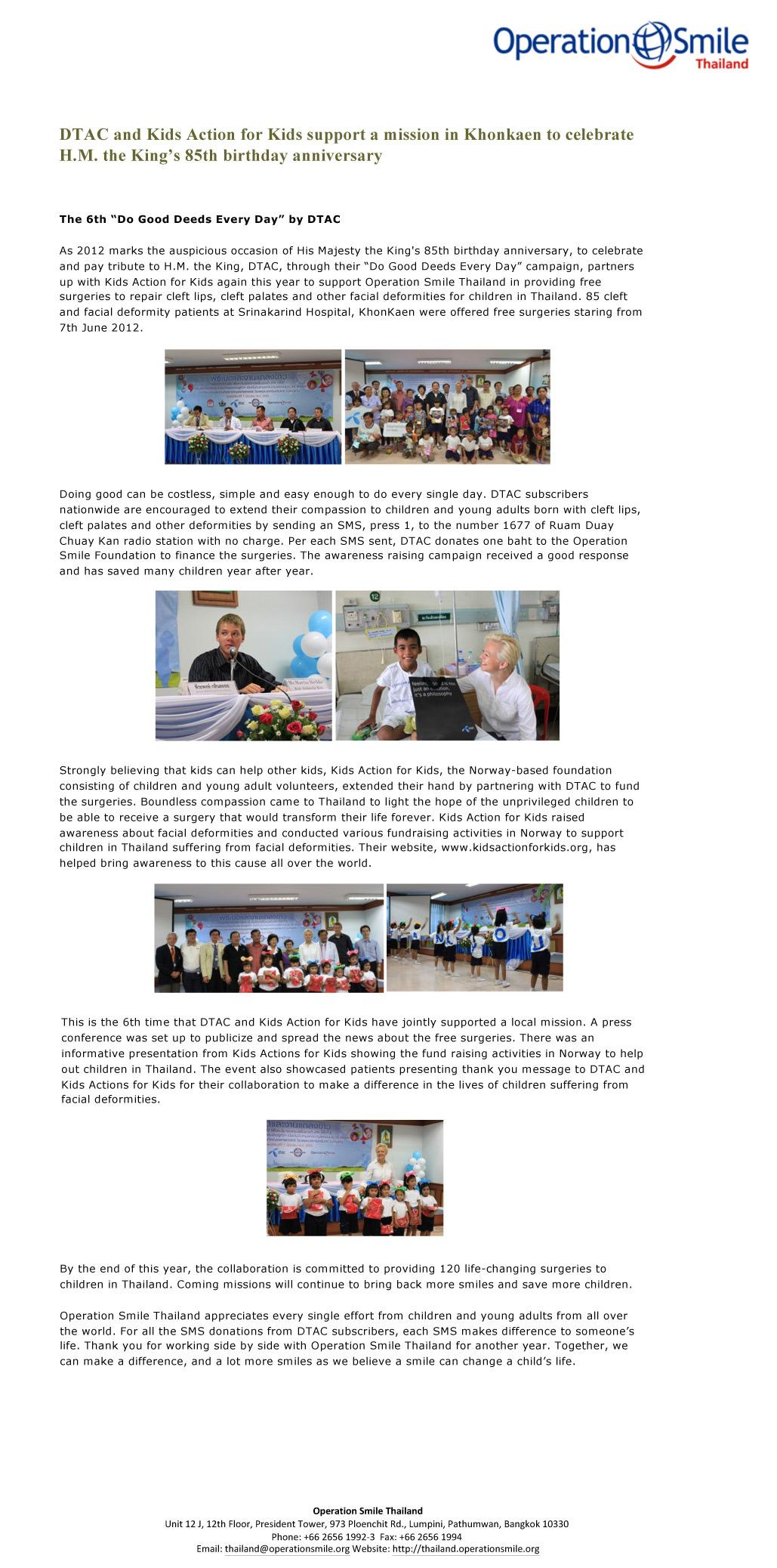 Operation Smile news – Thailand